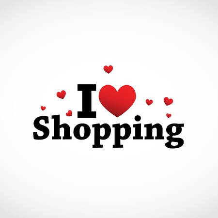 happy shopper: I Love Shopping icon.