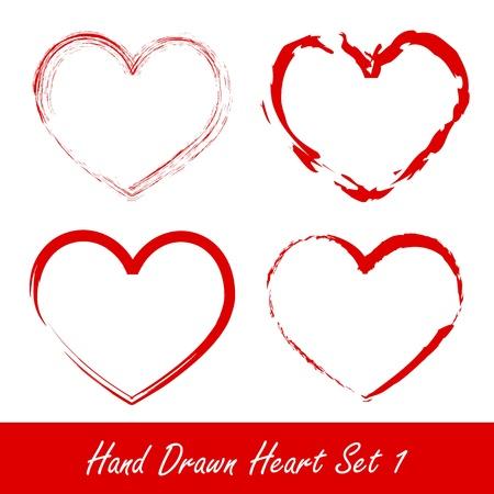 Corazón dibujado a mano set 1