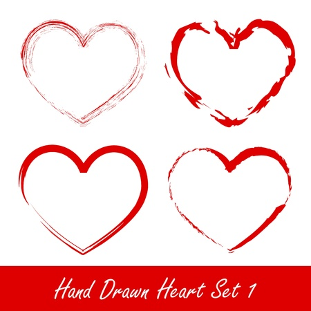Hand drawn heart set 1 Vector