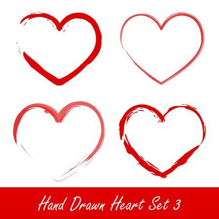 coeur: Hand drawn heart set 3