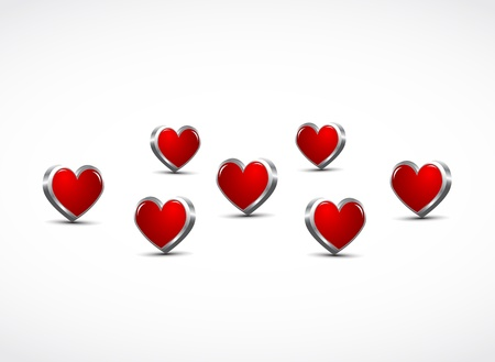 3d hearts background Vector