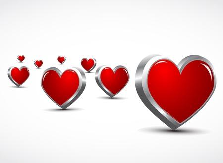 liefde: 3d harten liefde concept