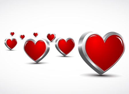 3d hearts love concept Stock Vector - 11893507