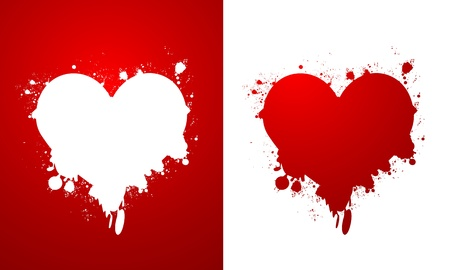 Grunge hearts poster Vector