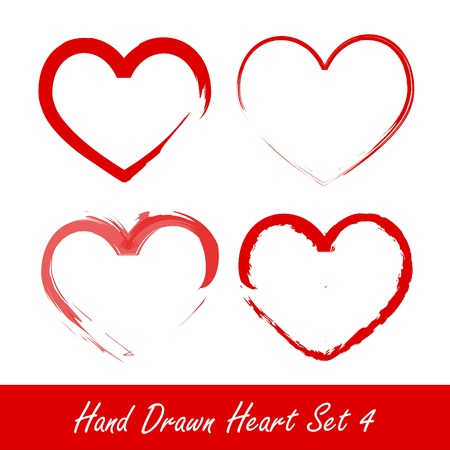 Hand drawn heart set 4 Vector