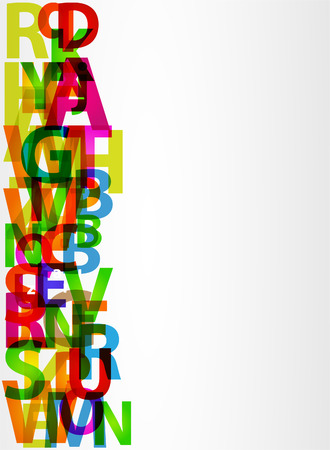 character abstract: Colorful letters with Abstract background