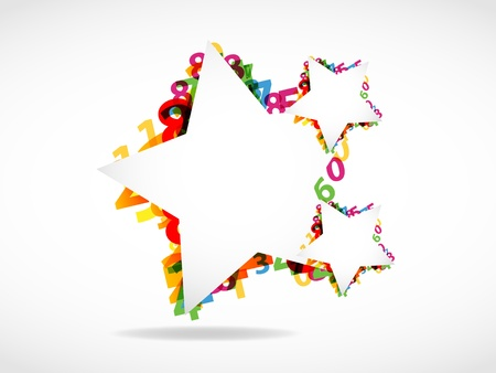 Abstract numbers & star shapes background