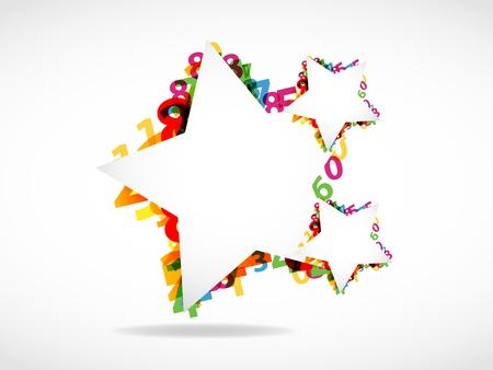 estrella caricatura: Números abstractos y de fondo estrella de las formas Vectores
