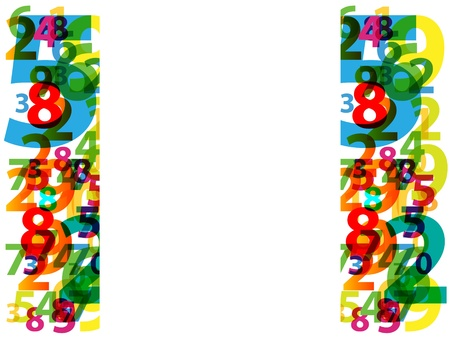 Colorful numbers with abstract background Vector