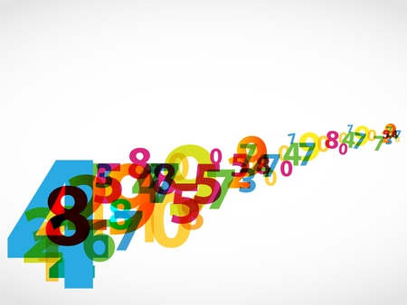 Colorful numbers abstract background. Vector