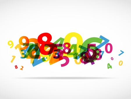 Abstract colorful numbers background Vector