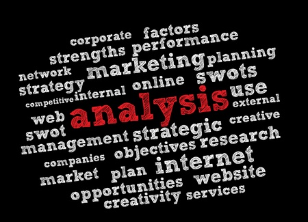 swot analysis: Analysis word cloud vector background