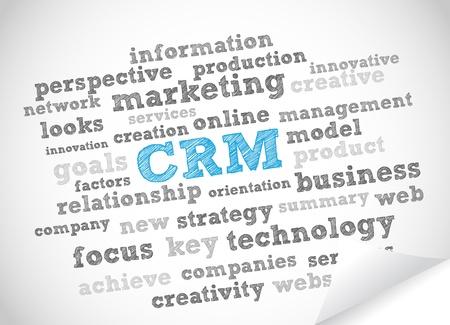 crm: CRM word cloud Illustration