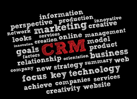 crm: CRM word cloud vector background Illustration