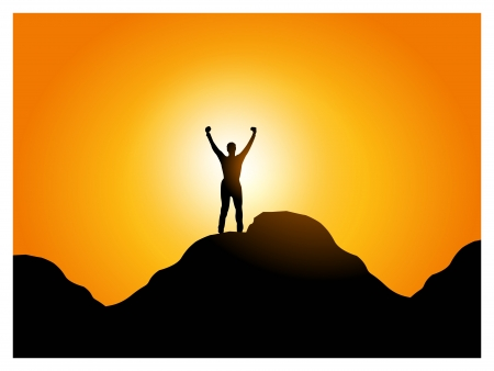 precipice: freedom & happiness. Illustration