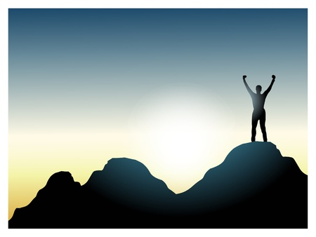 climber on the top of the mountain_victory. Vector