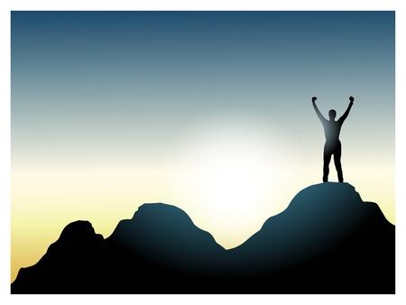 pico: escalador en la parte superior de la mountain_victory.