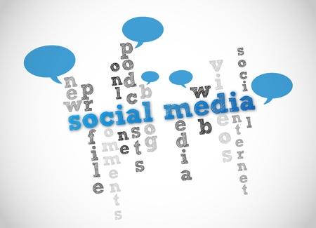 social networking: social media parola concetto di nuvola