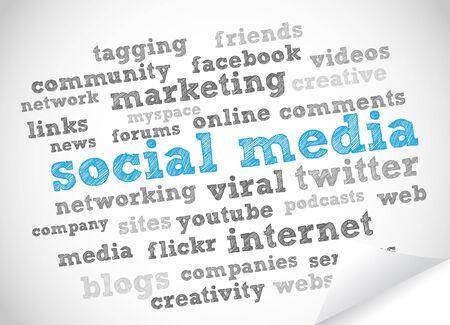 消費: 社会的なメディアの単語雲  イラスト・ベクター素材