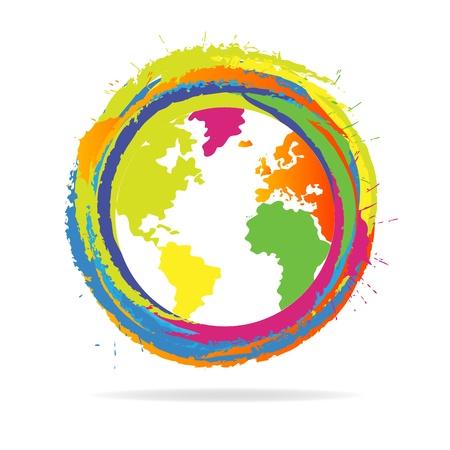 logotipo turismo: Icono colorido del globo del mundo Vectores
