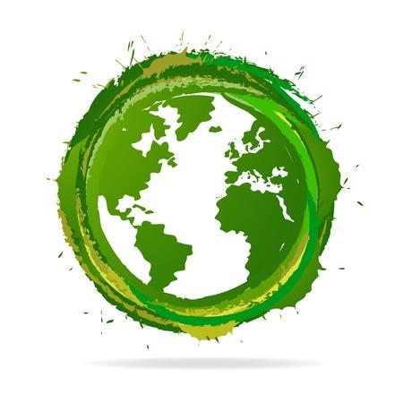 earth logo: Grunge Globe icon Illustration