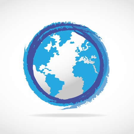 Blue World Globe icon Vector