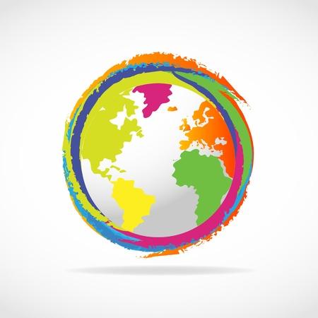 wereldbol groen: Kleurrijke pictogram van een wereldbol Stock Illustratie