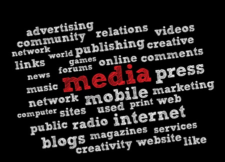 article writing: Media word cloud Illustration