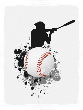 beisbol: B�isbol del cartel de fondo del grunge