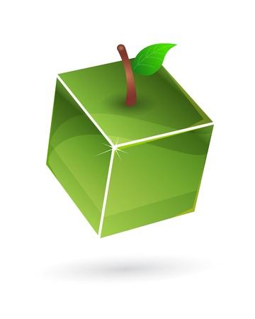 Green fruit cube Vector
