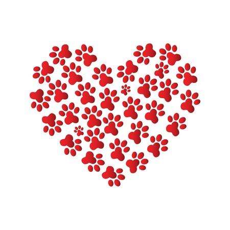 Heart Paw print Stock Vector - 12221732