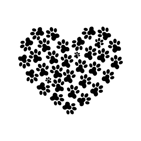 cat dog: Heart Paw print_2 Illustration