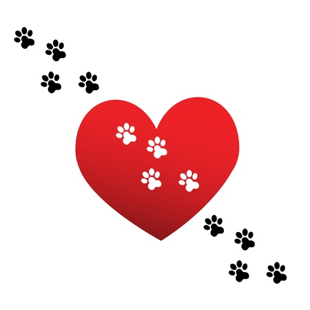 dog paw: Paw print love Illustration