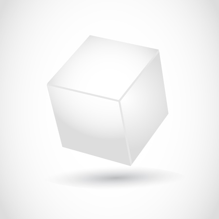 white cube: Cube vector with 3d effect