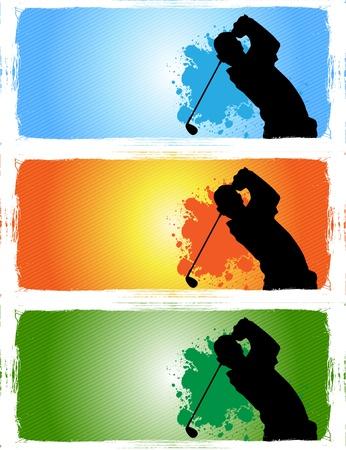 golf drapeau: banni�res de golf Illustration