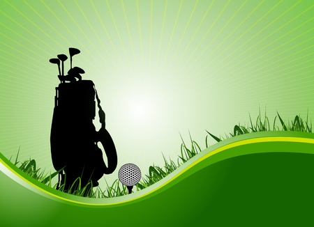 golf equipment: green golf background.vector Illustration