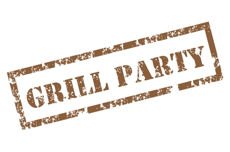 Grunge Grill Party Stamp Vector