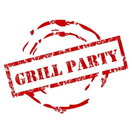Grill Party Sello Ilustración de vector