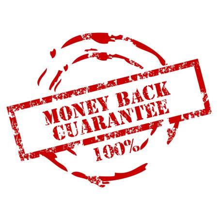 seal of approval: Money back stamp 100% Illustration