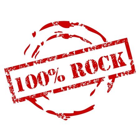 rock music: 100% Rock stamp Illustration