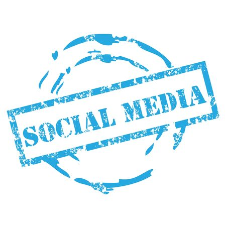 online logo: Social media rubber stamp Illustration