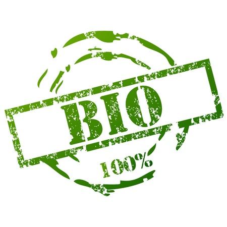 100% Bio Stamp Vector
