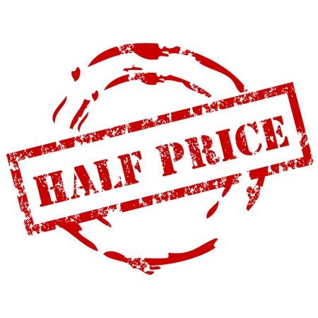 La mitad Sello Precio Ilustración de vector
