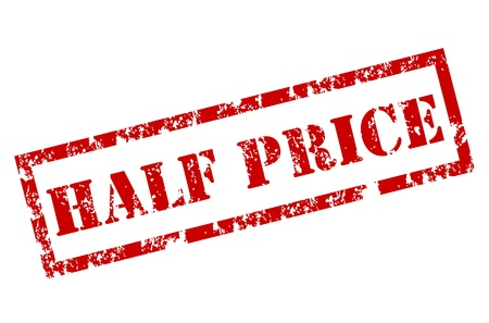 price reduction: Half Price Stamp Illustration