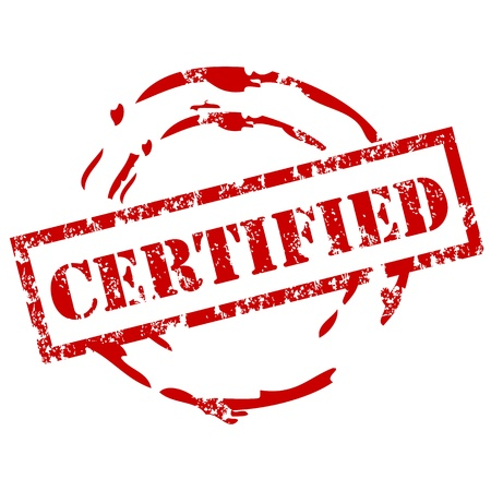 approbation: Certified timbro di gomma