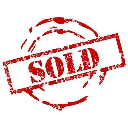 selling stocks: Sold rubber stamp Illustration