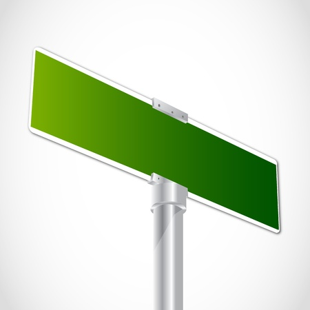 sign pole: Blank green sign