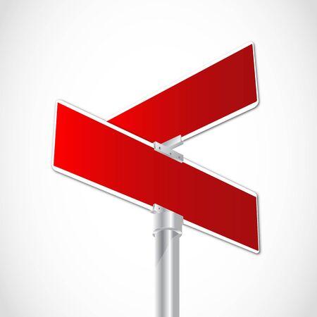 plating: Red crossroad sign Illustration