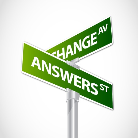 Change, answers sign Stock Vector - 12482247