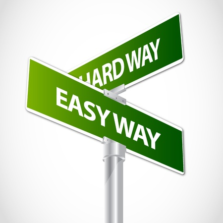 financial questions: Easy way, Hard way sign